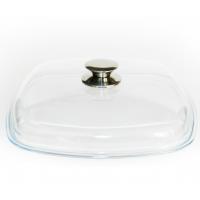 Крышка стеклянная квадратная Виктория 280*280 с металлической ручкой